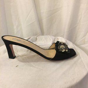 Prada Fabric Leather Embellished Slide  40/8